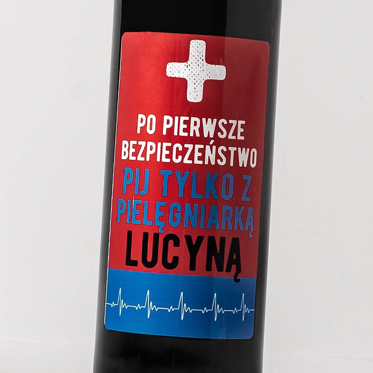 Czerwone wino alkoholowe PREZENT DLA PIELĘGNIARKI