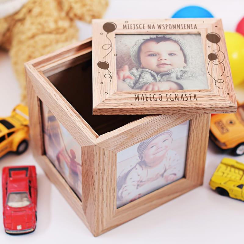 Drewniana szkatułka to prezent na narodziny dziecka ze zdjęciem