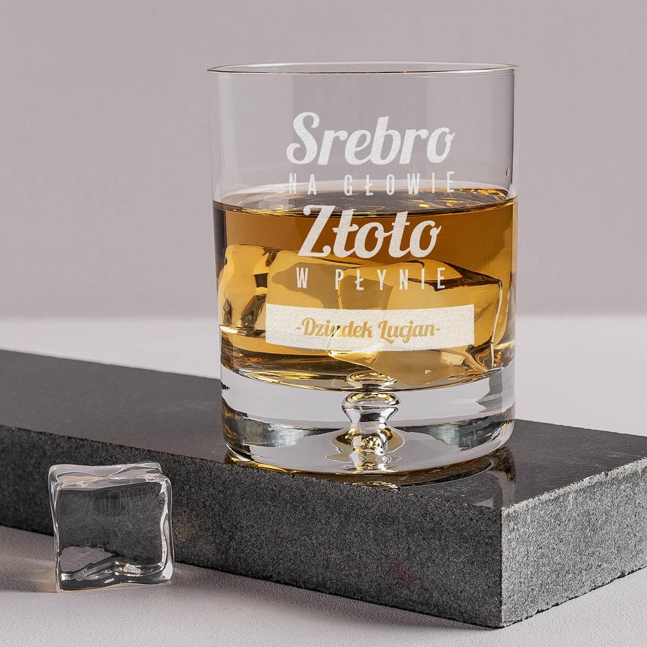 Grawerowana szklanka do whisky ZŁOTO W PŁYNIE