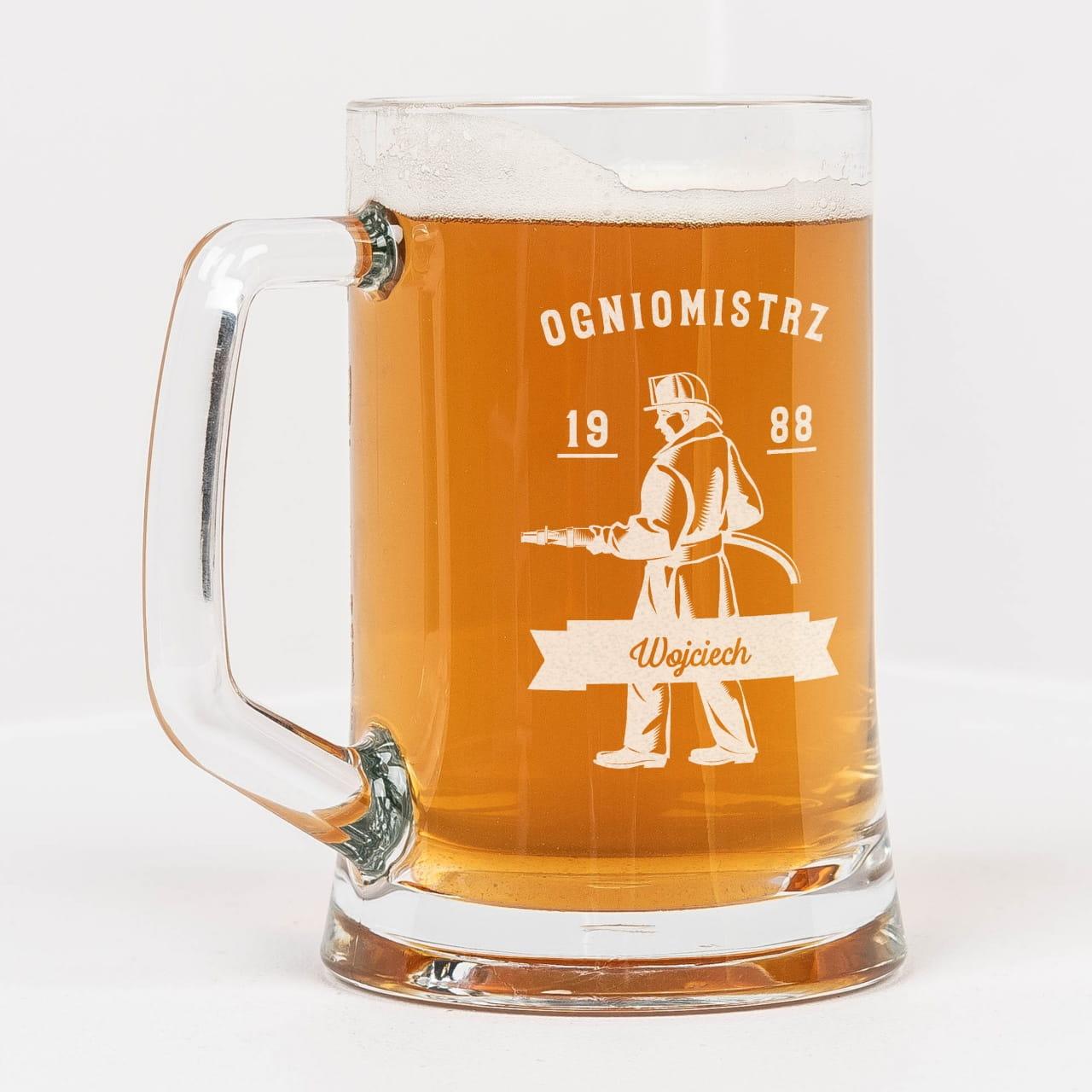 Grawerowany kufel do piwa STRAŻAK