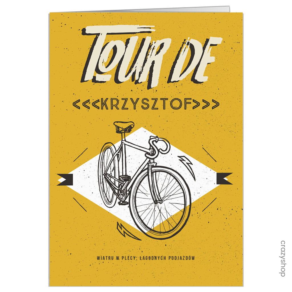 Kartka urodzinowa z rowerem TOUR DE