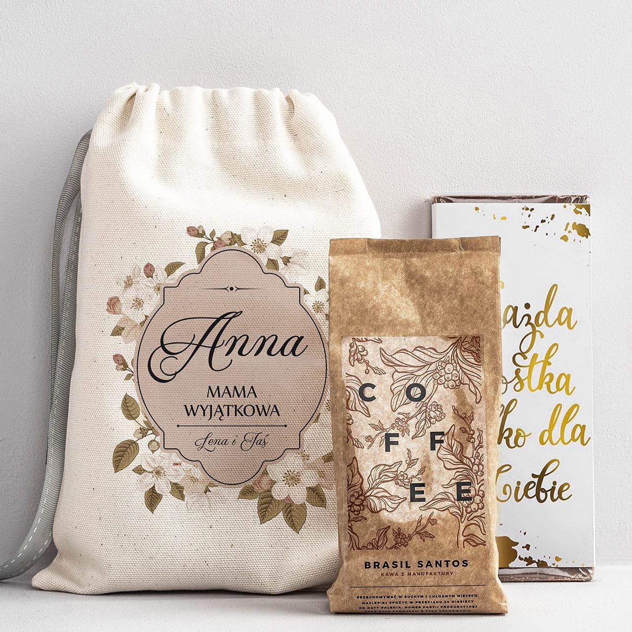 Kawa i czekolada w woreczku z dedykacją