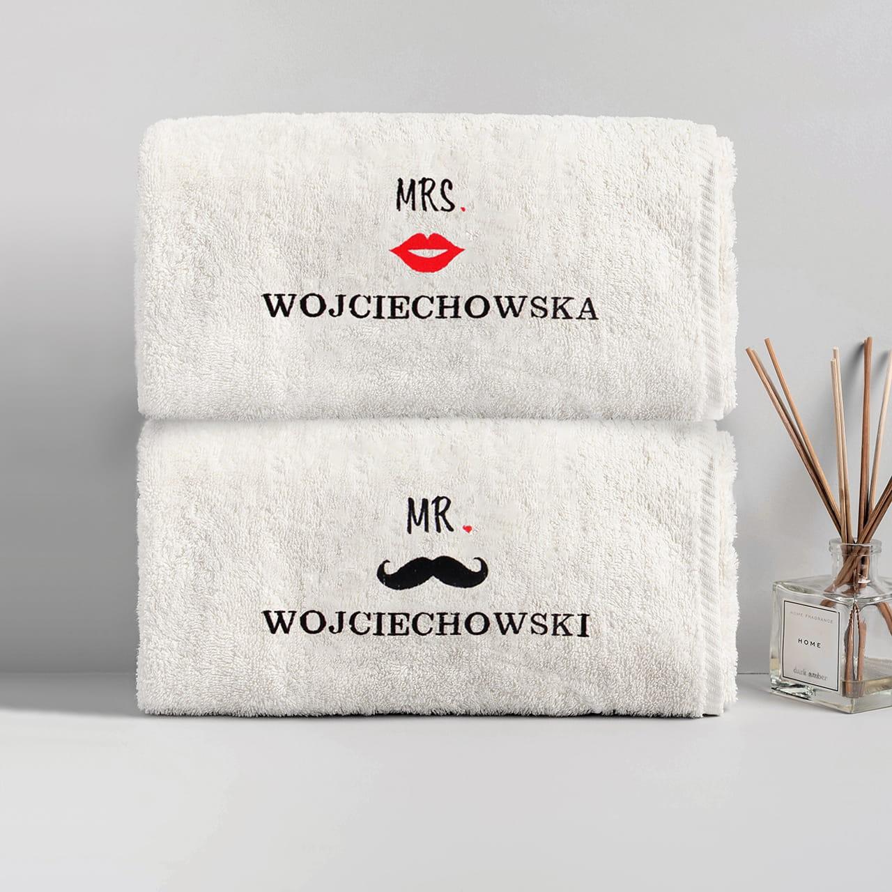 Ręczniki z haftem na ślub