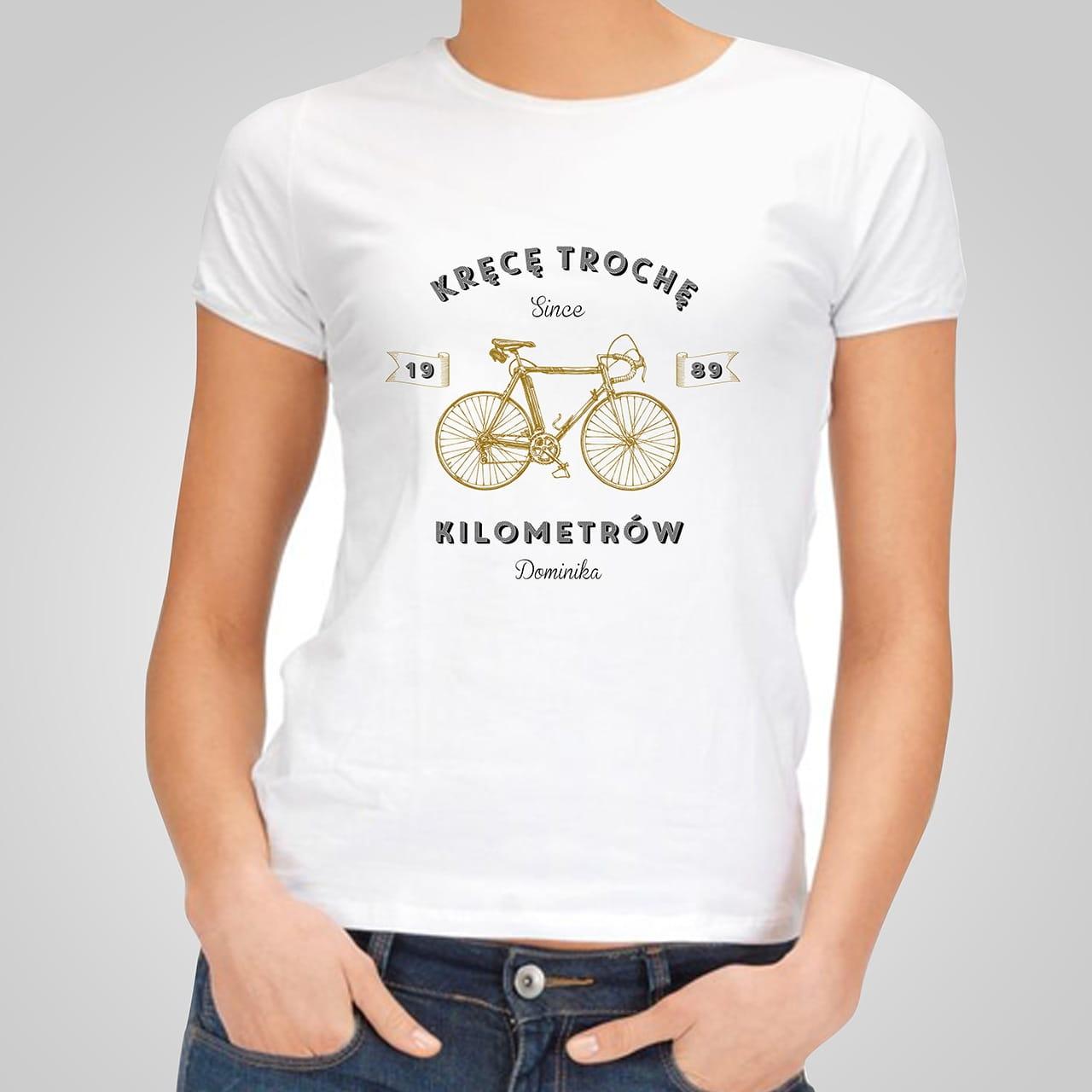 Koszulka damska z nadrukiem KRĘCE KILOMETRY