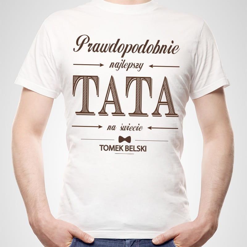 Koszulka męska z nadrukiem PREZENT DLA TATY