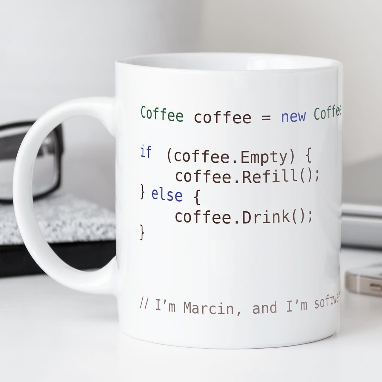 Kubek z nadrukiem COFFEE SOFTWARE DEVELOPER