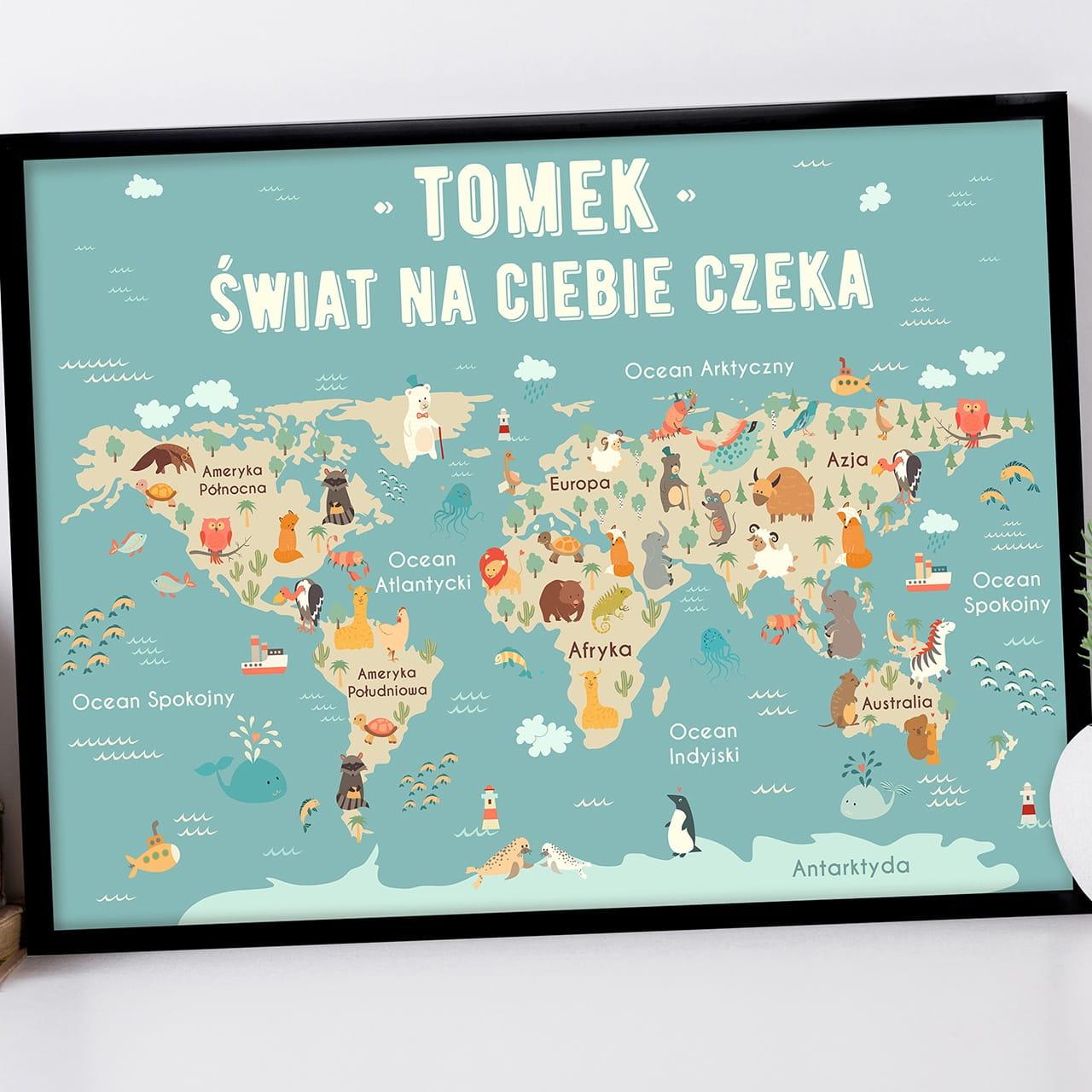 Plakat personalizowany 31x41 cm ŚWIAT prezent na Dzień Dziecka