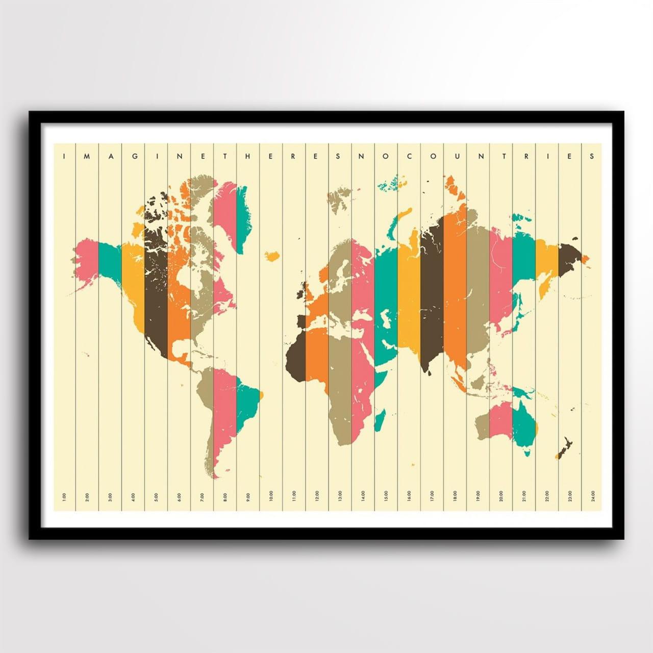 Plakat strefy czasu na prezent dla podróżnika