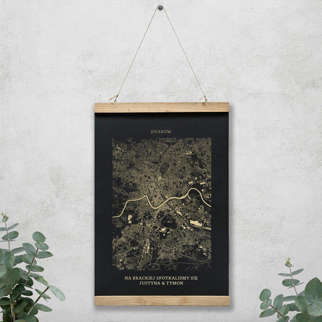 Plakat mapa KRAKÓW czarny