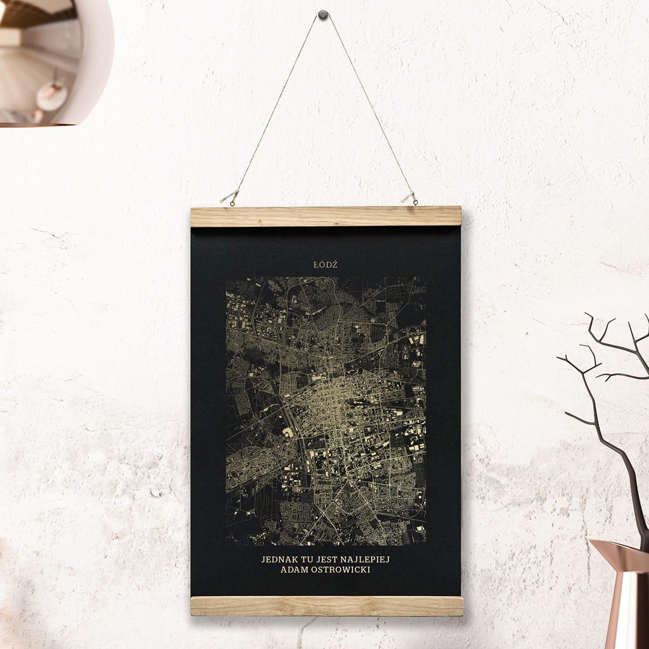 Plakat mapa ŁÓDŹ czarny