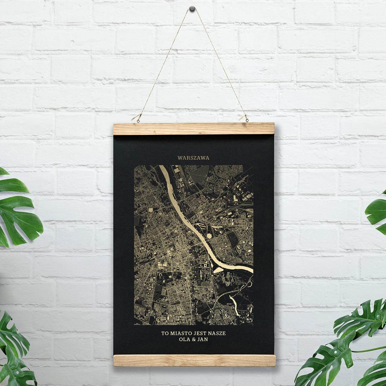Plakat mapa WARSZAWA czarny