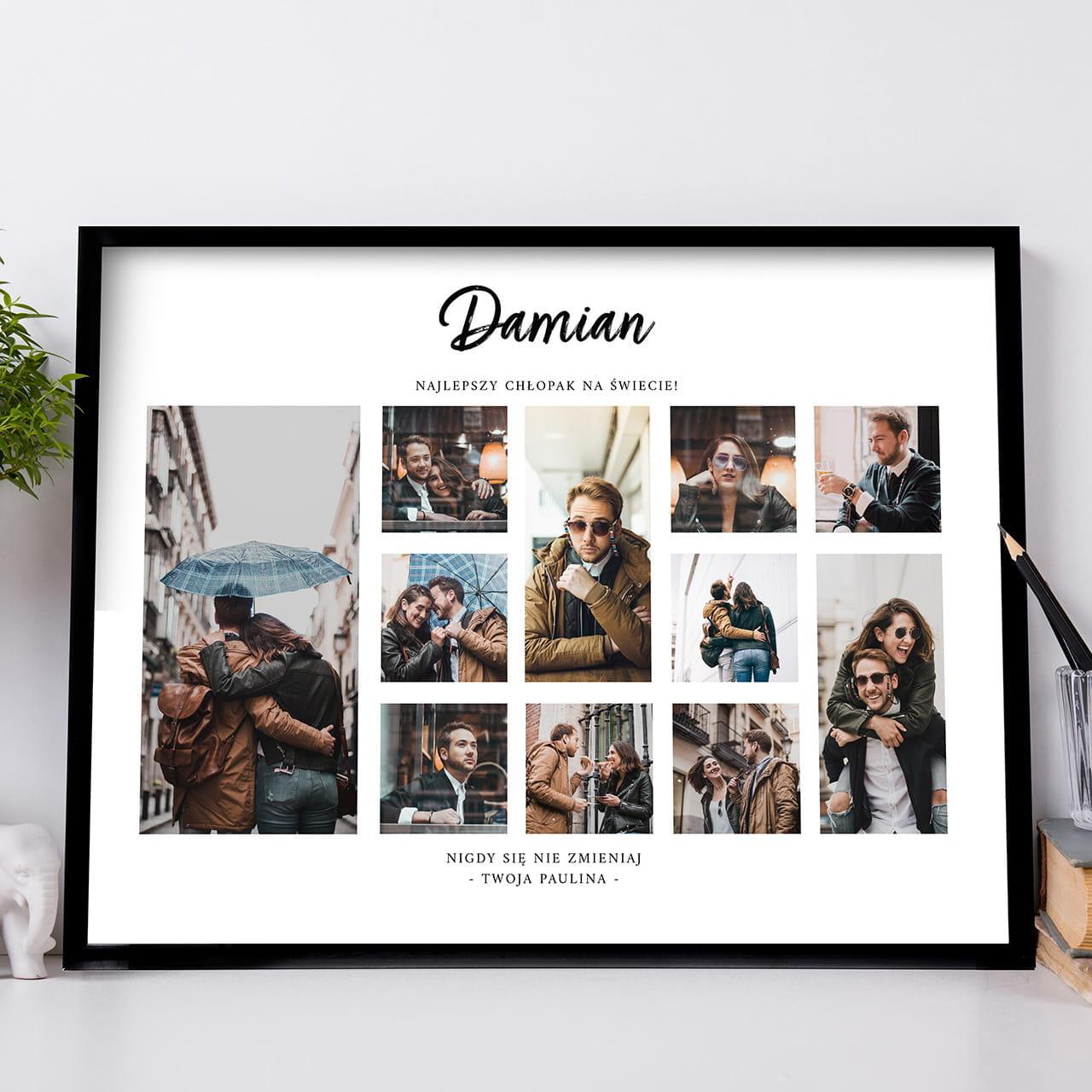 Plakat ze zdjęciami to personalizowany prezent dla chłopaka