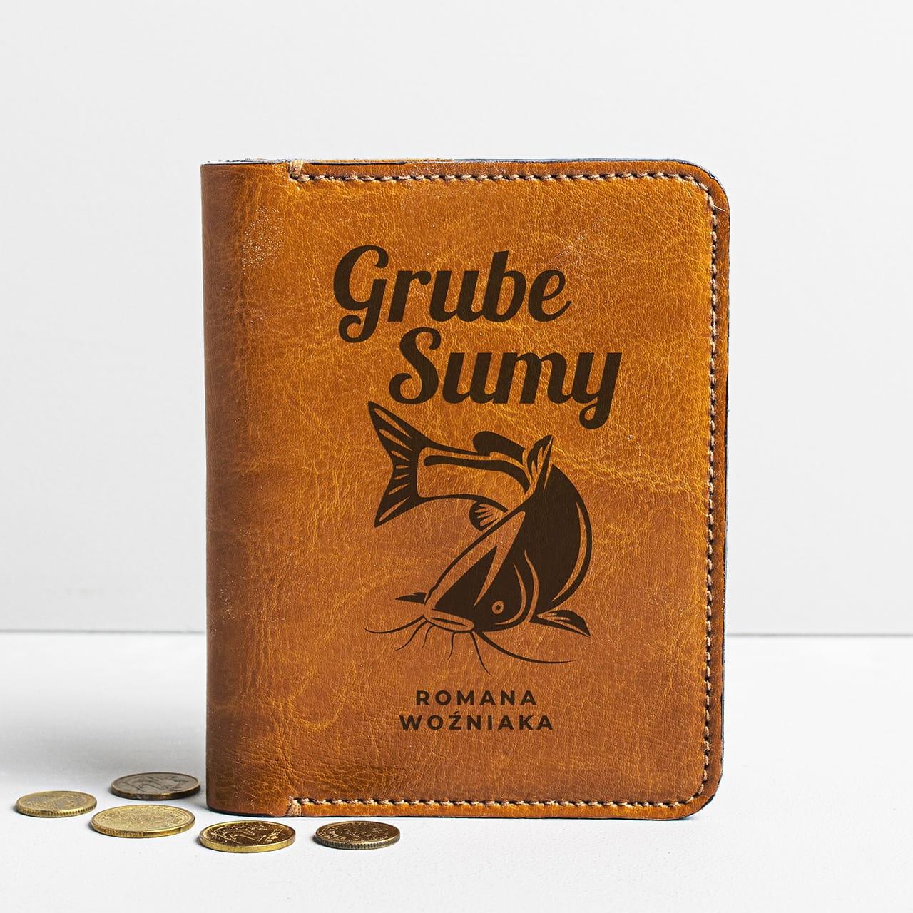 Prezent dla wędkarza portfel męski GRUBE SUMY