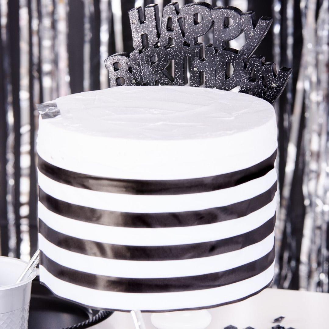 Topper na tort urodzinowy HAPPY BIRTHDAY czarny