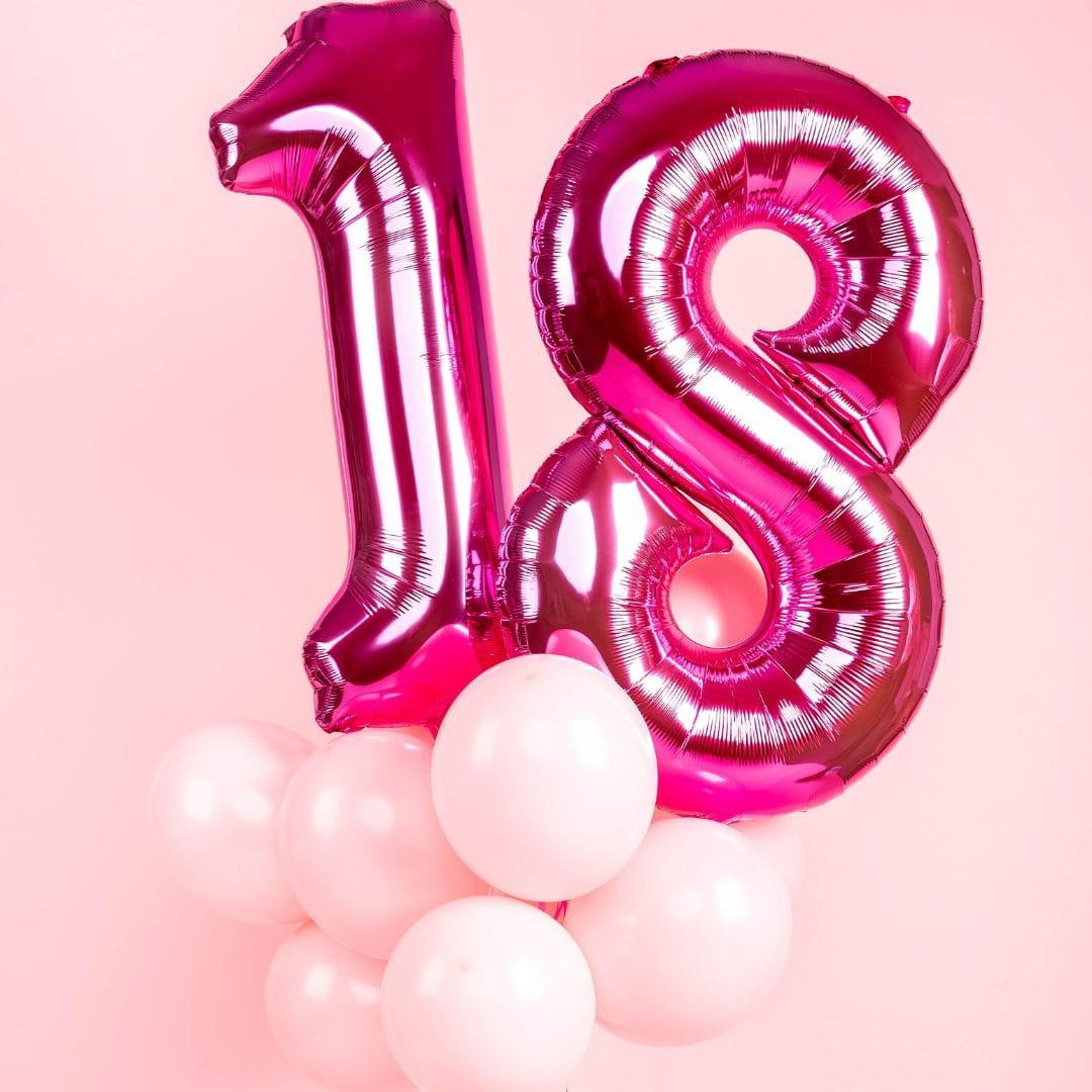 Balony z helem 18 URODZINY różowe