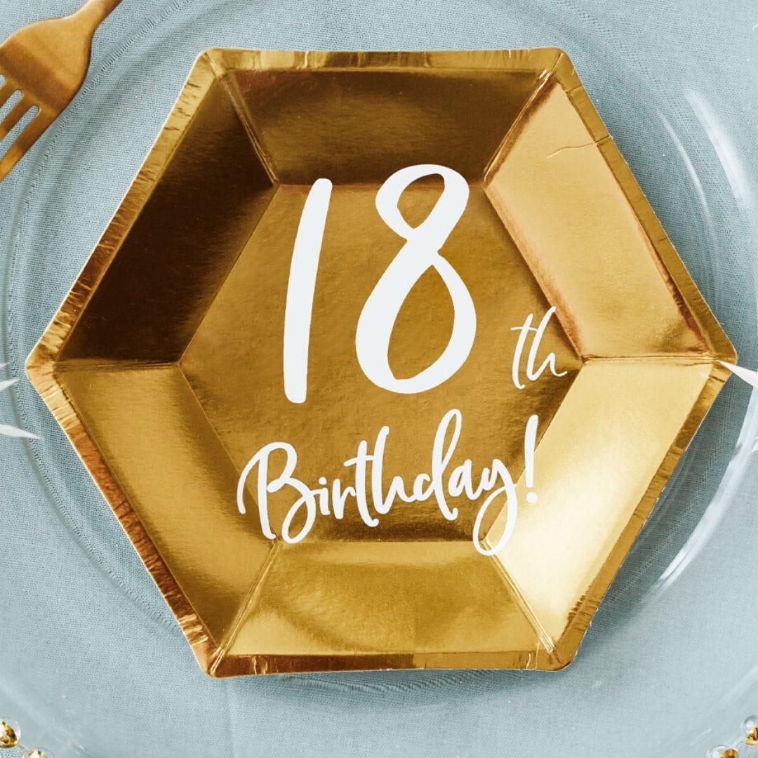 Talerzyki 18th BIRTHDAY złote (6szt.)