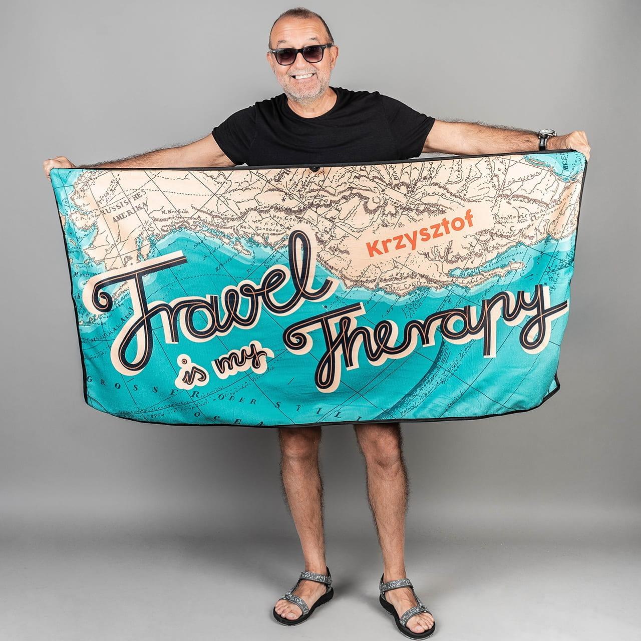 Ręcznik z mikrofibry to prezent dla Krzysia podróżnika