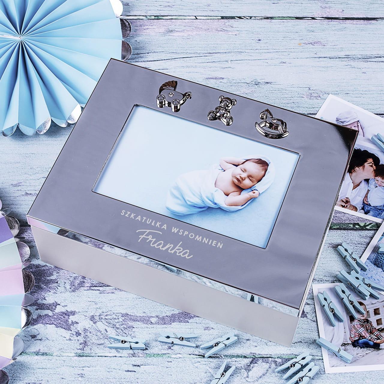 Szkatułka z ramką na prezent dla noworodka