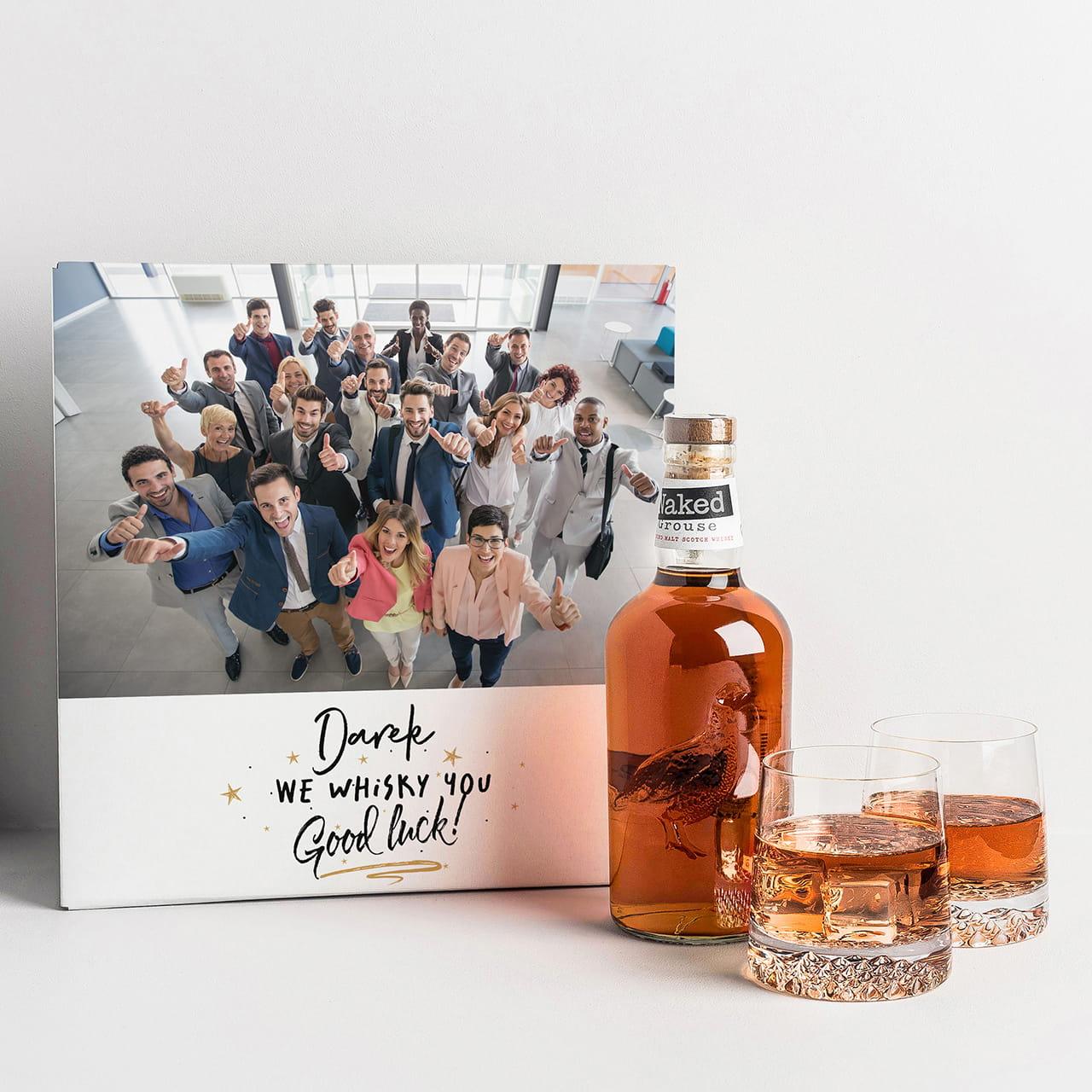 Whisky ze szklankami POWODZENIA