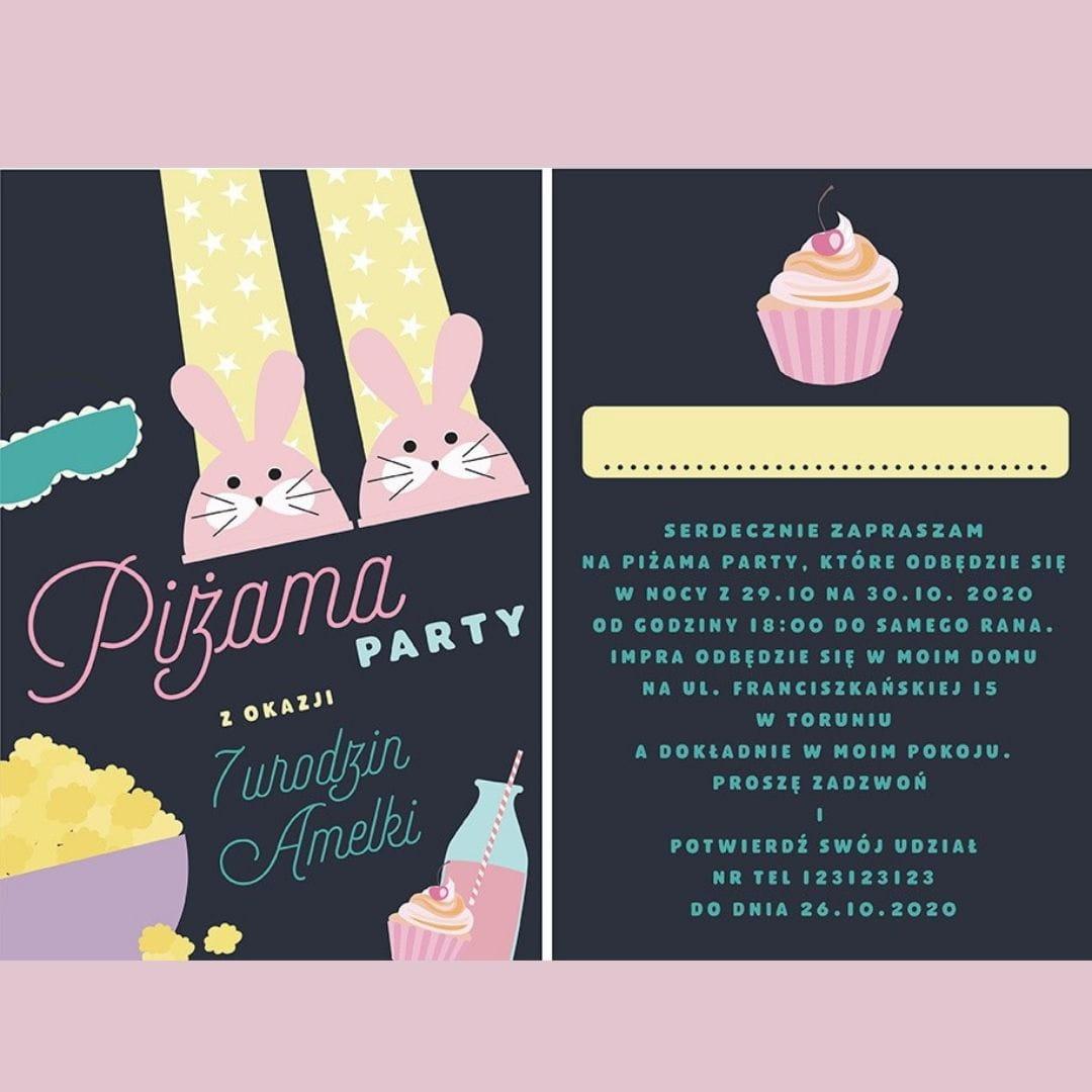 Urodzinowe zaproszenia na PIŻAMA PARTY personalizowane