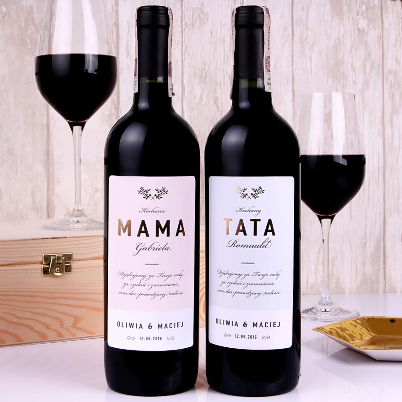 Zestaw win alkoholowych w skrzynce RODZICE