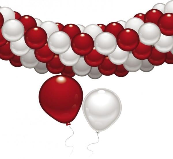Balonowy zestaw dekoracyjny biało-czerwony