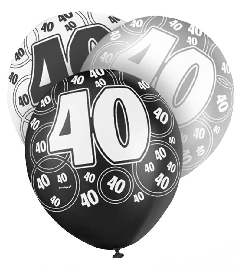 Balony 40 Urodziny Glitz Czarne 6szt Balony Sklep Partyboxpl