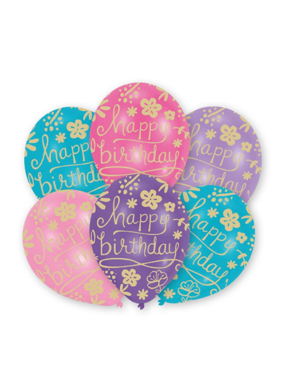 balony lateksowe urodzinowe w kwiatki 6szt balony gumowe