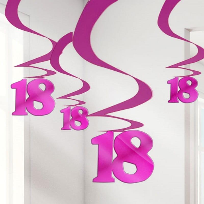 Dekoracja Wisząca 18 Urodziny Róż 5szt Urodzinowe