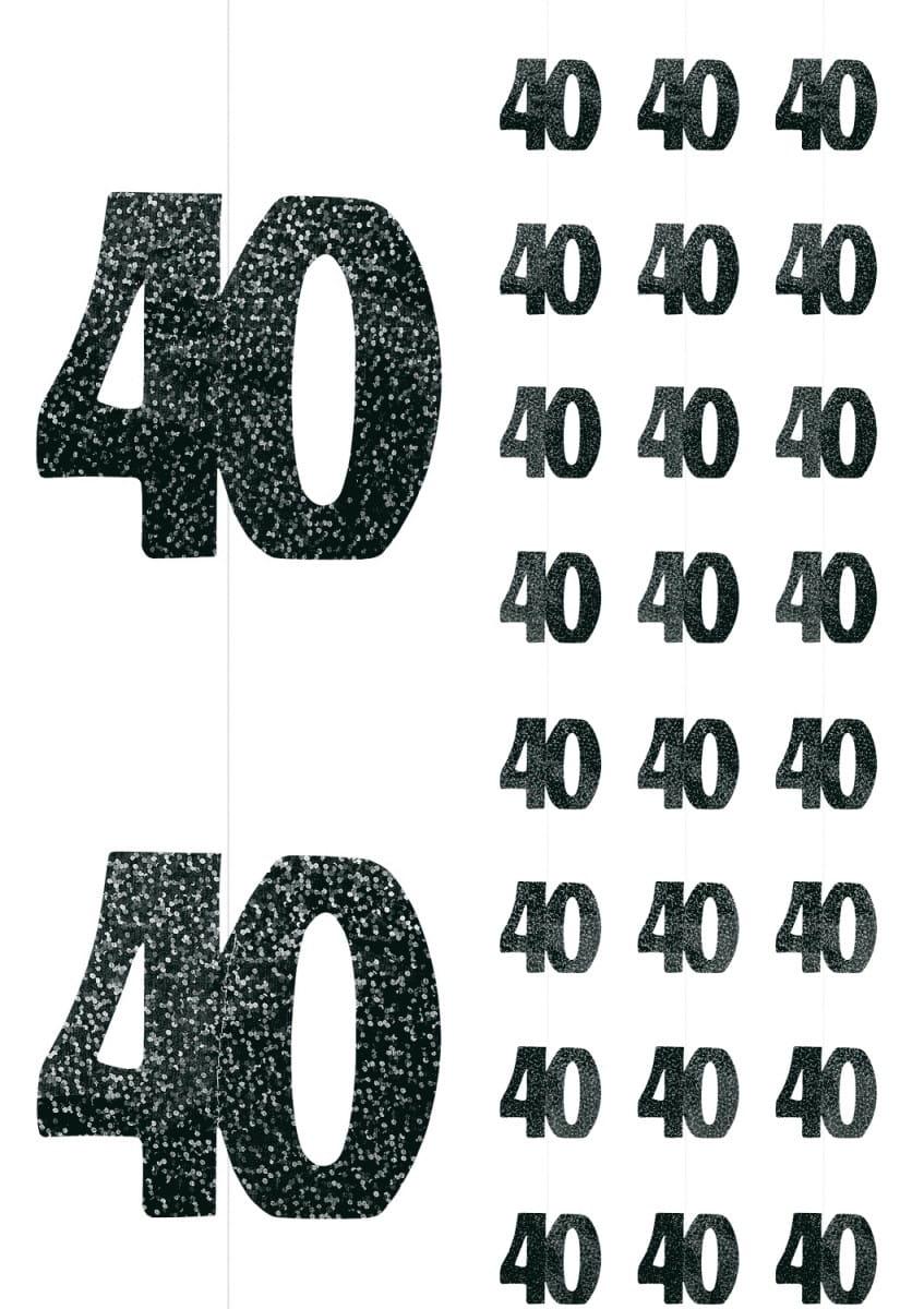7384fcd977eb8a Dekoracja wisząca 40 URODZINY GLITZ (6szt.) / Dekoracje na 40 urodziny