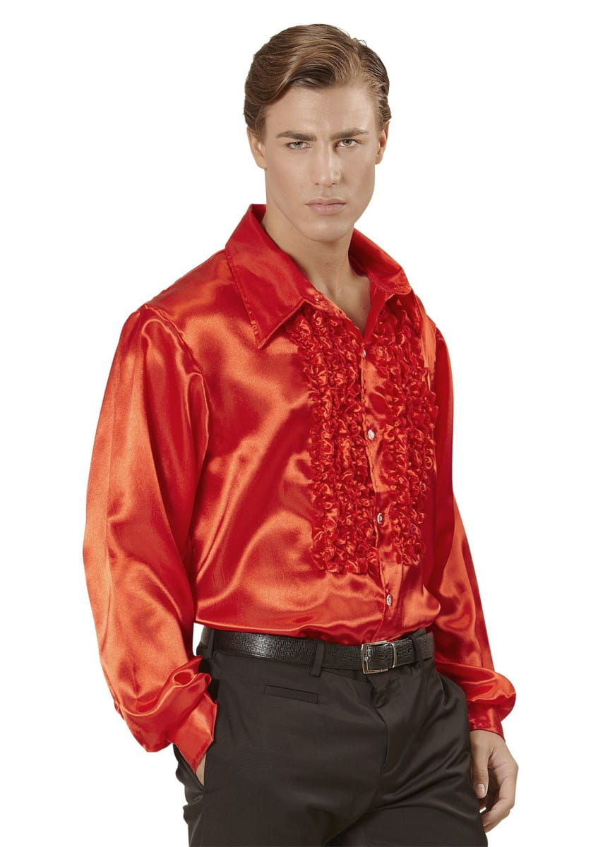 15fc506bdfe7 Koszula DISCO z żabotem czerwona   Lata 60. i 70. - sklep PartyBox.pl