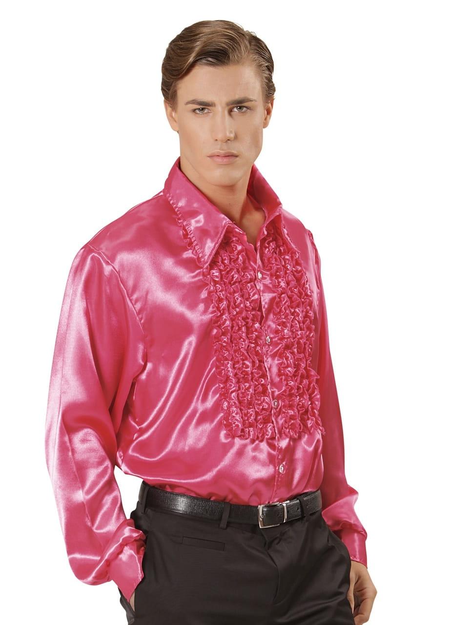 faf95f84 Koszula DISCO z żabotem różowa