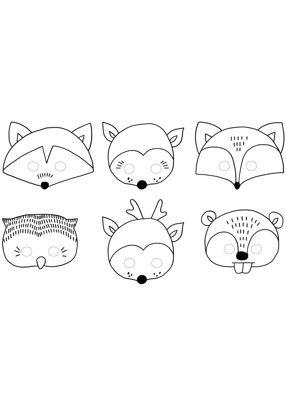Maski Zwierzat Do Kolorowania Woodland 6szt Akcesoria