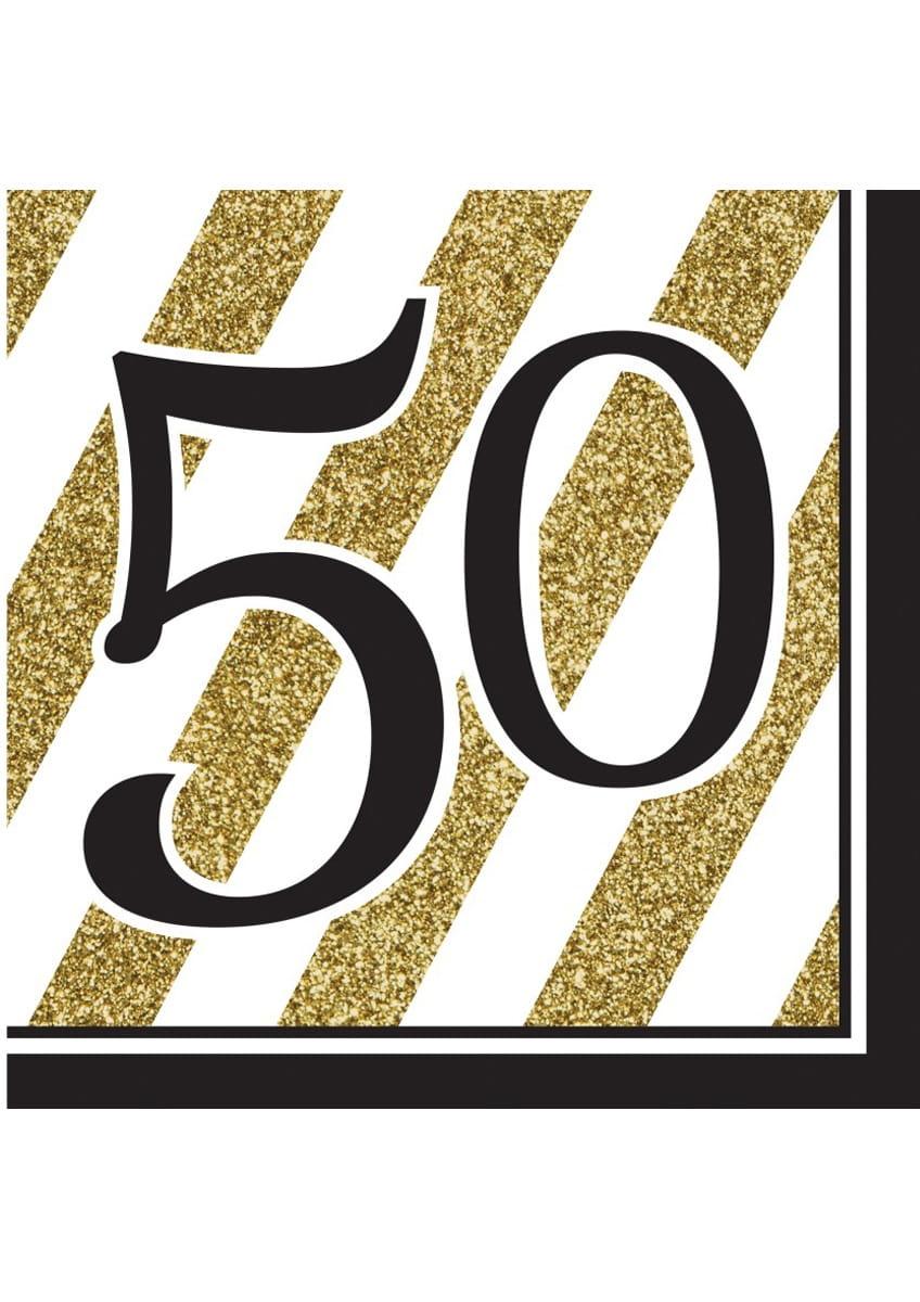 Serwetki 50 Urodziny Glitter 16szt Kolekcja Urodziny Glitter