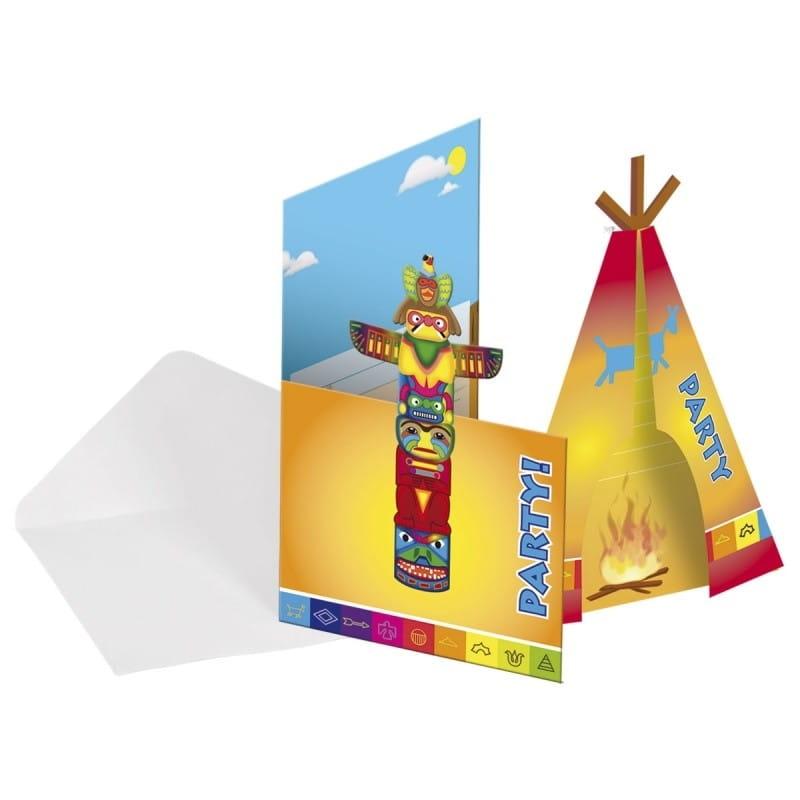Zaproszenia Indianie 8szt Indiańskie Kolekcje Sklep Partyboxpl