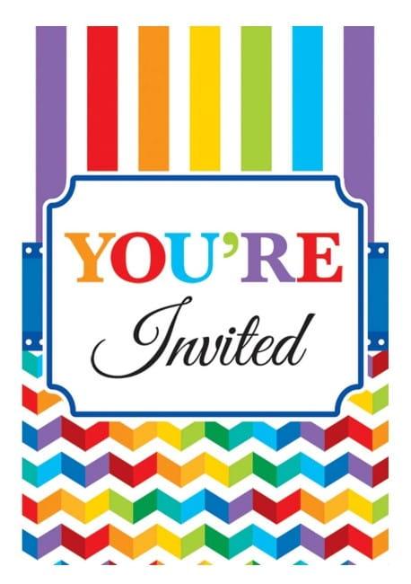 Zaproszenia Kolorowe Urodziny 20szt Kolekcja Kolorowe Urodziny