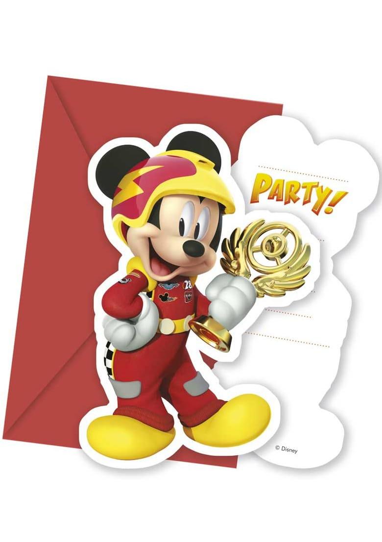 Zaproszenia Mickey I Raźni Rajdowcy 6szt Kolekcja Myszka Mickey