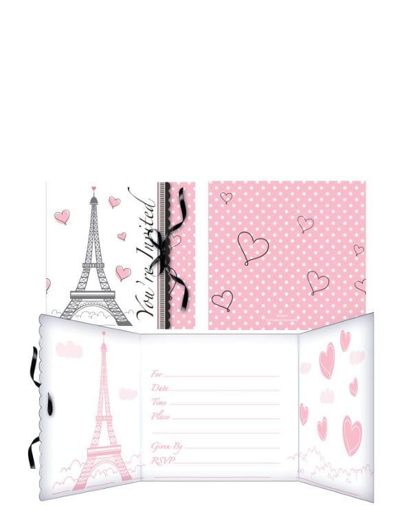 Zaproszenia Paryż 8szt Kolekcja Paryż Sklep Partyboxpl