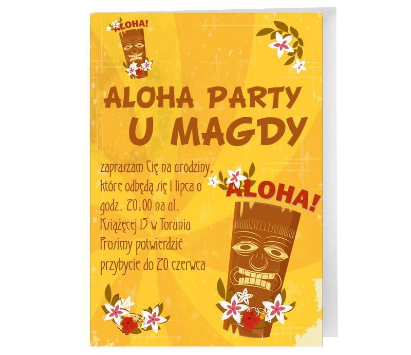 Zaproszenia Personalizowane Aloha Zaproszenia Dla Dorosłych