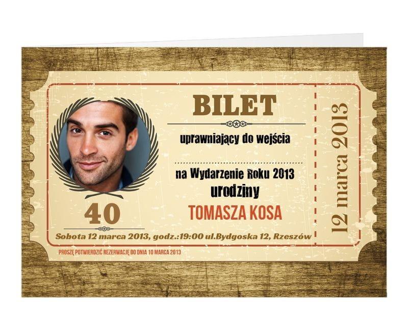 Zaproszenia Personalizowane Bilet Zaproszenia Dla Dorosłych