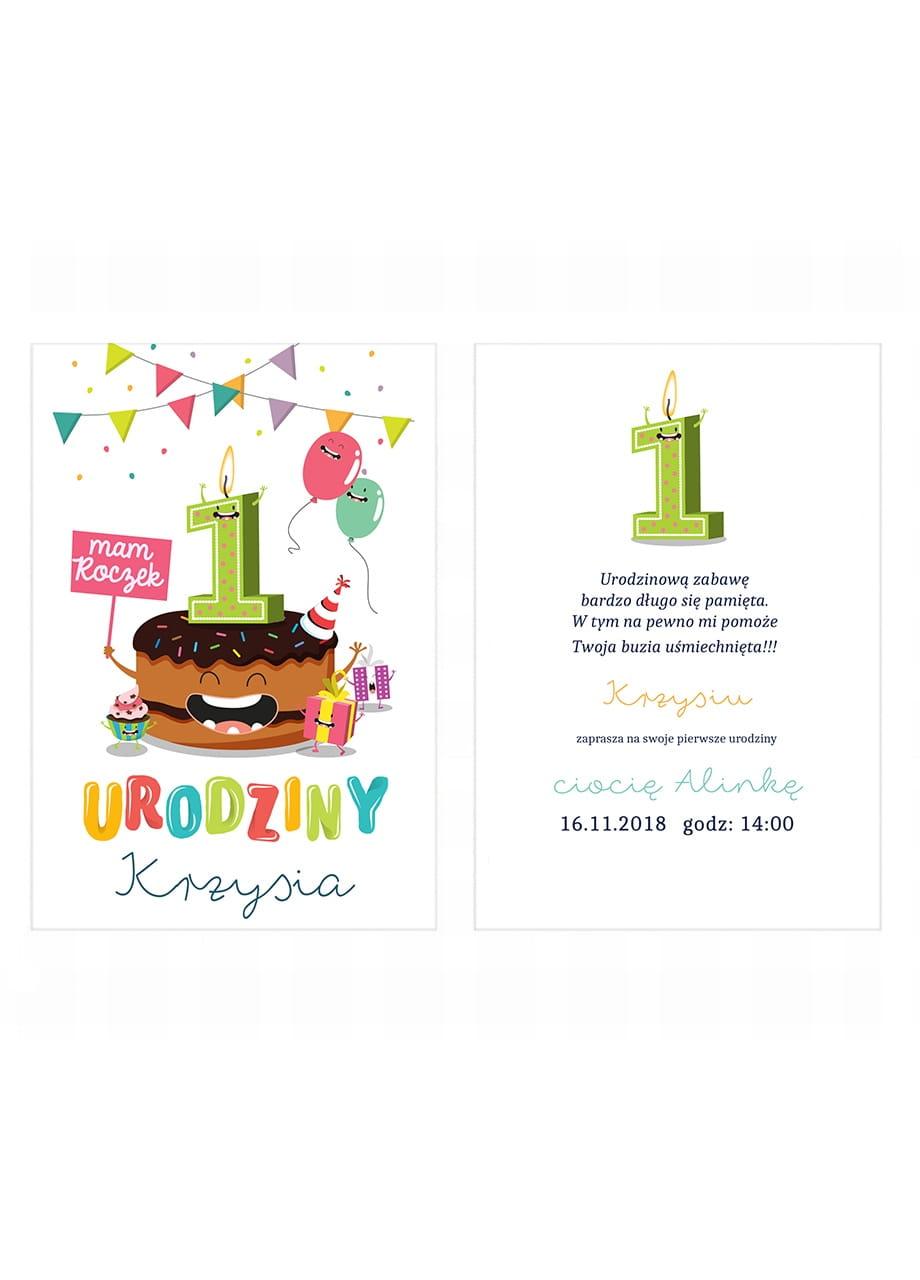 Zaproszenia Personalizowane Tort Na Roczek Zaproszenia Dla Dzieci