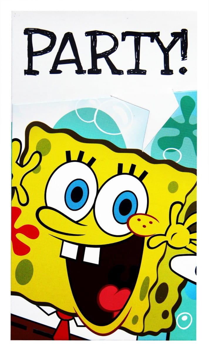 Zaproszenia Spongebob Kanciastoporty 6szt Kolekcja Spongebob