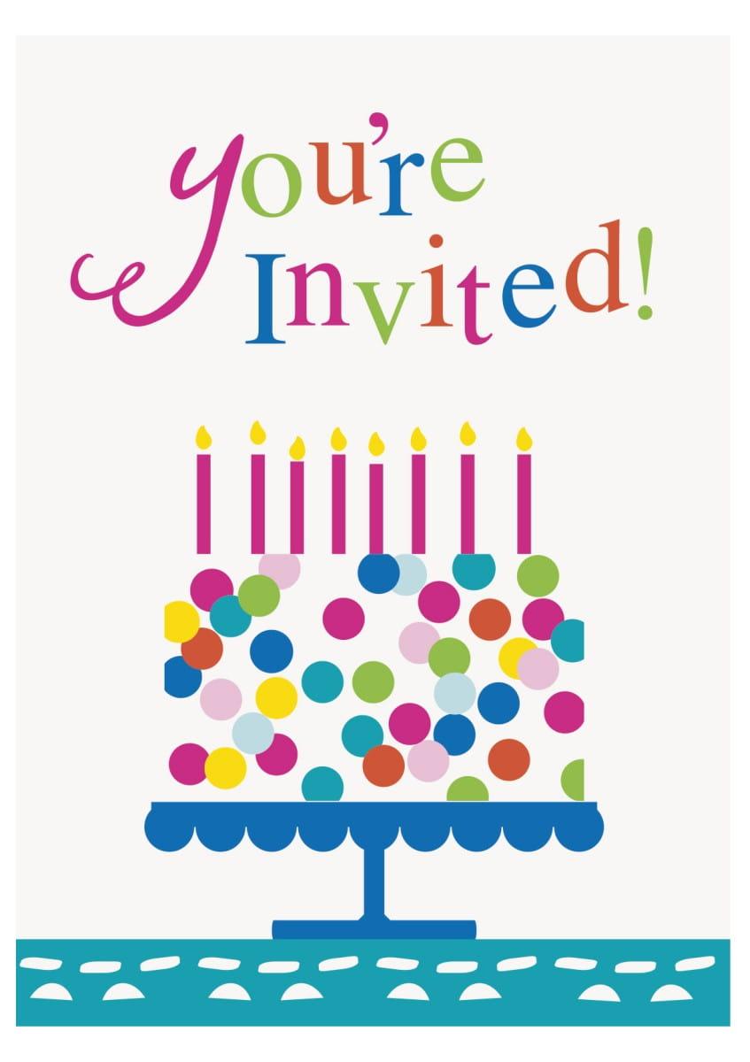 Zaproszenia Urodzinowe Konfetti 8szt Kolekcja Urodzinowe Konfetti