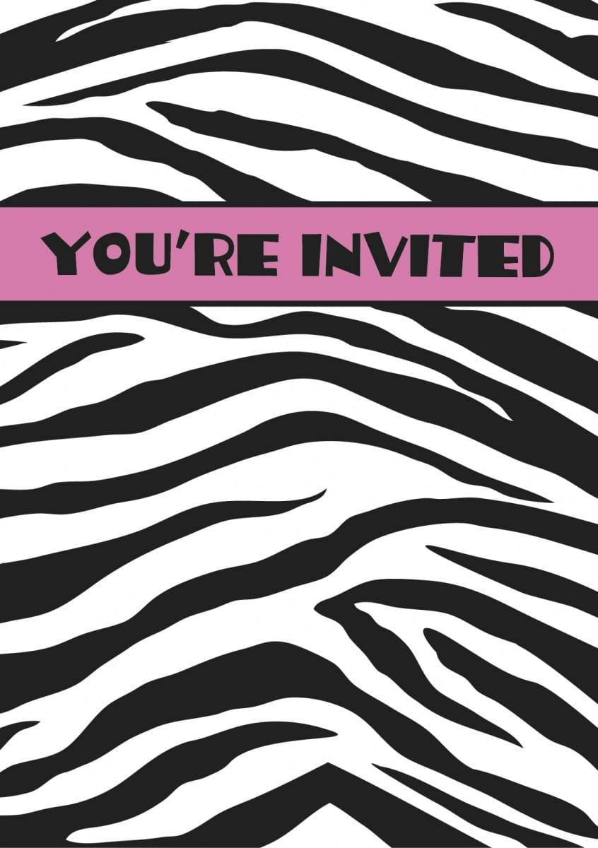 Zaproszenia Zebra Pink 8szt Kolekcja Zebra Sklep Partyboxpl