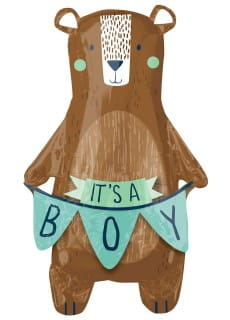 Balon foliowy na baby shower BEARLY WAIT (86cm)