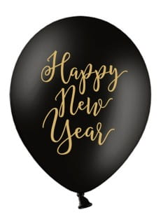Balony sylwestrowe HAPPY NEW YEAR 30cm (6szt.)