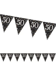 Girlanda flagi 50 HAPPY BIRTHDAY Sparkling